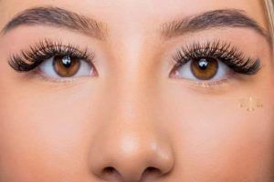 Makeup for eyelash extensions