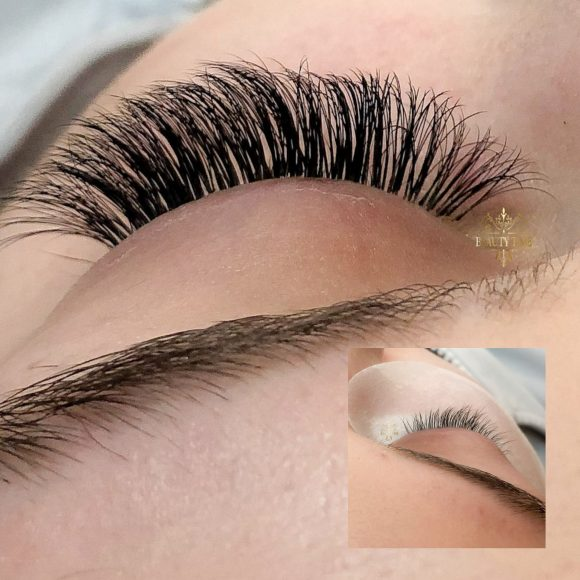 Before and After eyelash extensions done by Beauty Time Canada