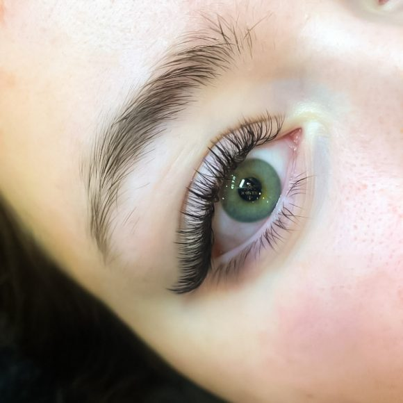 Green Eyes with Eyelash Extensions by Beauty Time Canada