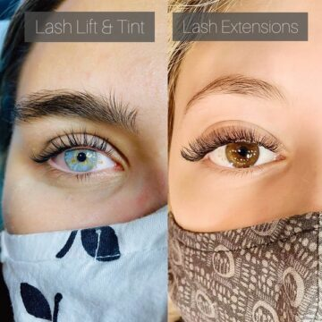 Lash lift and tint and lash extensions